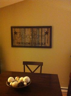 Wooden sign DIY Love the dark table!