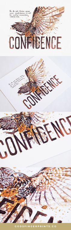 A lovely illustration of Hebrews 10:35 with a kestrel and the word Confidence.