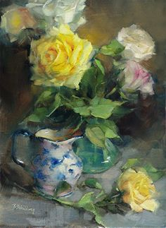 Yellow Roses in Jug by Barbara Schilling Oil Painting