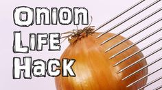 Perfectly Chop an Onion Every Time Using a Hair Pick as a Guide