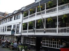The George Inn, Southwark, London's last surviving galleried coaching inn.   Rebuilt after a fire in 1676 but there was an inn on the same site at least a century earlier.  Now owned and preserved by the National Trust.   Copyright Avis Exley