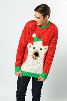 This large polar bear design has a 3-D pompom nose and a coating of soft yarn for a beautifully soft, fuzzy effect. Perfect for any Christmas lover #PolarBear #FluffyJumper #ChristmasJumpers #Cute #AdultsFashion #MensClothing #Wholesale #TheChristmasJumperGrotto #WomansClothing #NationalChristmasJumperDay Novelty Christmas Jumpers, Christmas Sweaters, National Christmas Jumper Day, Bear Design, Polar Bear, 3 D, Clothes For Women, Cute, Beauty