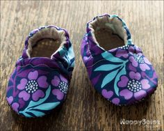 Purple Petunias -  Eco Friendly Baby Booties (6-12 months) Traction Soles