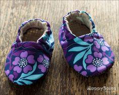 Purple Petunias   Eco Friendly Baby Booties 612 by HappySolez, $18.99