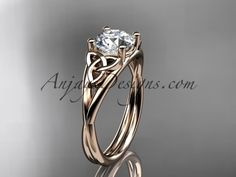 "14kt rose gold celtic trinity knot wedding ring, engagement ring with a ""Forever One"" Moissanite center stone CT7189"