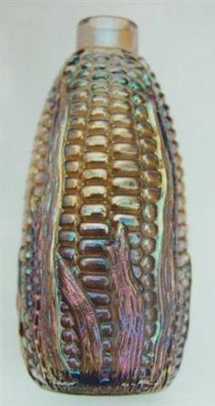 antique carnival glass corn bottle