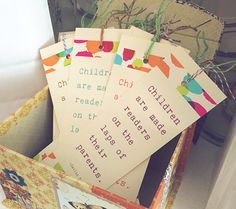 """""""Children are made readers on the laps of their parents."""" – Emilie Buchwald. Bookmark Favors 