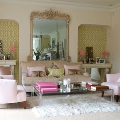 Looking for traditional living room ideas? Take a look at these pink living room colour choices with a feminine flair from Ideal Home for inspiration. For more living room ideas, such as how to paint and accessorise, visit our living room galleries Decor, Living Room, Room, Living Room Green, Room Envy, Interior, House Interior, Interior Design, Home And Living