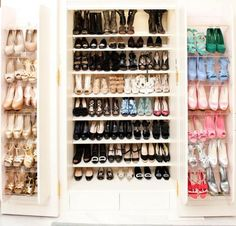 Most girls could only ever dream of owning a closet + shoe collection like Suzanne Rogers. Smart Storage, Shoe Storage, Shoe Shelves, Shoe Racks, Glass Shelves, Wardrobe Closet, Walk In Closet, Closet Space, Closet Tour