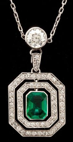 Platinum, Emerald and Diamond Pendant Necklace  Art Deco Period