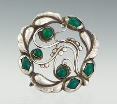 Brooch | Georg Jensen.  Sterling silver and Chrysoprase.  ca. 1915 - 1927.