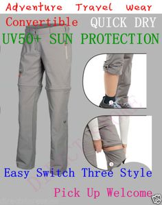 WOMENS-3-IN-1-Adventure-Travel-Walking-Wear-Convertible-Pants-Quick-Dry-UV50-SUN