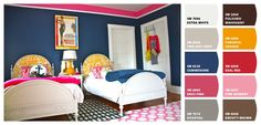 Paint colors from Chip It! by Sherwin-Williams. Stripes on the walls: navy, yellow, hot pink, and white