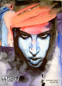 Coronation II - Marilyn Manson by Susanna Varis water color 2009
