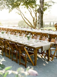 Table settings, burlap, + wooden chairs