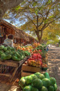 """Fruit for sale""----Fruit market in Saint Lucia, South Africa. via Flickr"