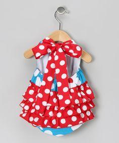 Red & Blue Flower Bubble Bodysuit - Infant