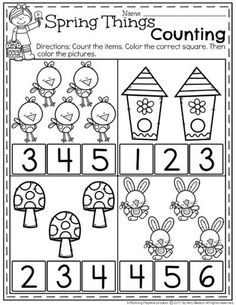 FREE Preschool Counting Worksheets for Spring.