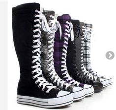Canvas Platform Sneakers Ladies Punk Womens Skate Shoes Lace Up Knee High  Boots 12659578d