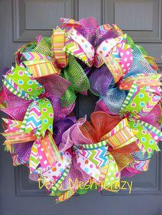 Bright Multi-Colored Deco Mesh Wreath-  www.facebook.com/decomeshcrazy www.decomeshcrazy.com