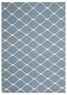 Flat Weave Stitch Rug Blue