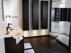 deco design pour une salle de bain noir et blanc