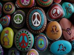 Peace symbol painted rocks