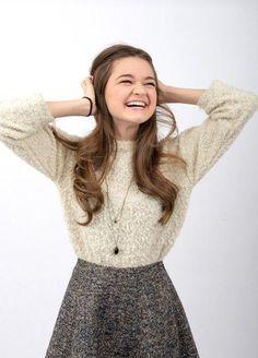 Ciara Bravo// Cream sweater and gray skirt