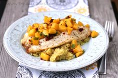 Broiled Tilapia with Chipotle Peach Salsa from www.thisgalcooks.com @This Gal Cooks