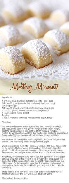 melting moments bites - to make with the kids: Shortbread Cookies With Cornstarch, Christmas Shortbread Cookies, Gluten Free Shortbread Cookies, Christmas Cookies Kids, Shortbread Biscuits, Christmas Baking, Holiday Cookies, Biscuits Sucrés, Christmas Desserts