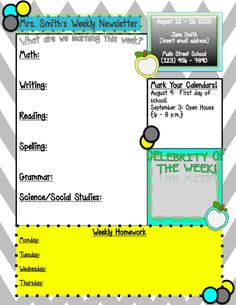 Weekly Newsletter template…editable in PowerPoint! Class Newsletter, Kindergarten Newsletter, Weekly Newsletter Template, Classroom Newsletter, Newsletter Ideas, Classroom Fun, Future Classroom, Classroom Organization, Classroom Management