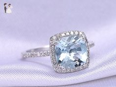 8mm Cushion Cut Natural Light Blue Aquamarine VS Gemstone 8 Ball Prongs Halo Ring Solid 14k White Gold Engagement Ring Vintage Retro Anniversary Wedding Bridal Proposal Band Art Deco Size 4-9 - Wedding favors (*Amazon Partner-Link)