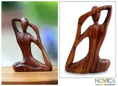Wood Sculpture from Indonesia - Yoga Stretch | NOVICA