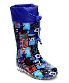 Love this Blue & Black Robot Rain Boot on #zulily! #zulilyfinds