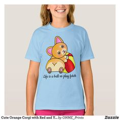 Shop Cute Orange Corgi with Red and Yellow Beach Ball T-Shirt created by ONME_Prints. Beach Ball, Kawaii Cute, Kawaii Fashion, Orange, Yellow, Cute Designs, Cute Kids, Fitness Models, Kids Outfits