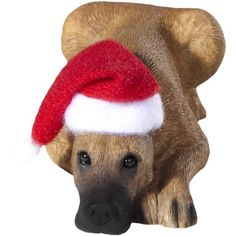 Sandicast Fawn Great Dane with Santa Hat Christmas Ornament