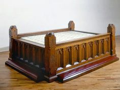 Brian Tolle  Gothic Revival Bed, 1993 White oak, leather and vestment cloth 40 X 89 X 113 inches