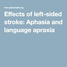 Effects of left-sided stroke: Aphasia and language apraxia