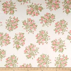 Printed Floral Denim Ivory/Multi from @fabricdotcom  This versatile printed medium weight denim fabric is perfect for pants, skirts, heavier dresses, purses, and more! Colors include cream, shades of pink, and green.