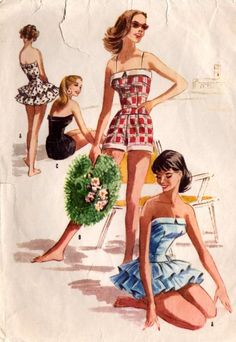 Vintage Swimsuit Sewing Pattern McCall's 3654 One Piece Ruffled or Shorts Swimsuit Sewing Pattern by DRCRosePatterns on Etsy