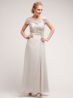 Elegant Lace and Floral Top Chiffon Evening Dress | Sung Boutique L.A.