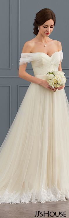 Ball-Gown One-Shoulder Off-the-Shoulder Court Train Tulle Lace Wedding Dress #JJsHouse #Wedding dresses