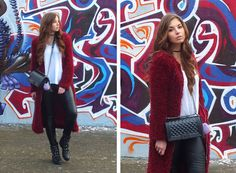 Fashion Love: BORDEAUX FLUFFY COAT, BIKER LEGGINGS & SACHA BUCKLE BOOTS*