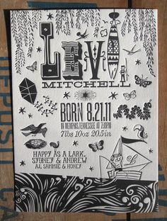 Letterpress Birth Announcement Custom Designed Sunny Afternoon Theme