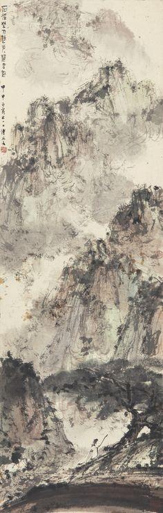 Fu Baoshi (1904-1965) STROLLING IN THE WOODS ink and colour on paper, hanging scroll 104.8 by 33.4 cm 41 ¼ by 13 1/8 in.  傅抱石 石徑野人歸 (1904-1965) 設色紙本 立軸 一九四四年作 款識: 石徑野人歸,步步隨雲起。 甲申白露後一日。傅抱石。  鈐印:「抱石大利」、「甲申」、「抱石齋」。 104.8 by 33.4 cm 41 ¼ by 13 1/8 in.