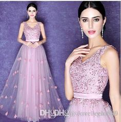 Wholesale New Arrival Hot Sale Fashion Special Elegant Luxury Princess Lace  Gown Angel Pink Collar V Banquet Sequins Bride Evening Dress Spring Dresses  ... e61581d2864b