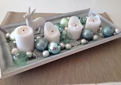 - My Advent wreath in white & mint Diy For Teens, Crafts For Teens, Christmas Centerpieces, Christmas Decorations, Credenza Decor, Dragon Fruit Smoothie, Christmas Crafts, Xmas, Autumn Table