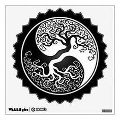 Black and White Yin Yang Tree Wall Decal Twisted Tree, Maori Tattoo Designs, Body Art Tattoos, Maori Tattoos, Tatoos, Tattoos Gallery, Patterns In Nature, Tree Wall, Tattoos
