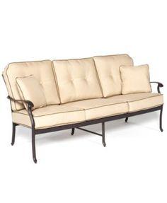 Bellingham Cast Aluminum Outdoor Sofa - Macy's closeout $400 Outdoor Sofa, Outdoor Living, Outdoor Decor, Pool Furniture, Outdoor Furniture, Aluminum Patio, Clever Design, Outdoor Settings, Cushions