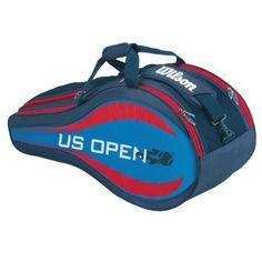 WILSON US Open Six Pack Tennis Bag by Wilson. $49.95. Strut your stuff like you just won the US Open in the WILSON US Open Six Pack Tennis Bag For any recreational player the exclusively licensed by the US Open  bag comes in patriotic red white and blue and can hold up to 6 racquets It comes with a padded strap to make carrying more comfortable There are two racquet zippered compartments with easy access curved openings and inside accessory pockets This bag also make...